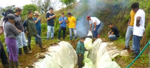 EARTH students gain hands on experience installing a biodigester in the nearby community of Las Lomas.