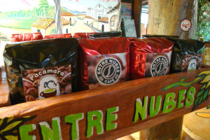 The many types of coffee for sale at Entre Nubes.