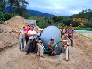 Joaquín Víquez finishes up a biodigester installation in Copan, Honduras.
