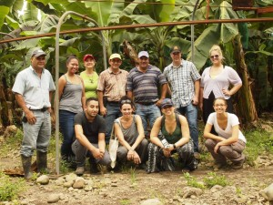 Contest winners, media guests, Whole Foods representatives and EARTH faculty tour EARTH's banana plantation during the 2013 trip.