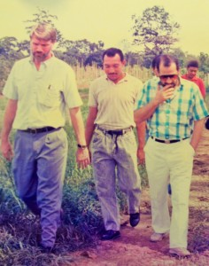 Jim French (left) and Jose Zaglul (right) take a walk around EARTH's campus more than 24 years ago.