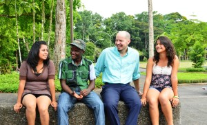 """Dr. Kent McLeod (third from left) states that, """"When I see students that I interviewed arrive on campus, I feel so proud."""" Kent is pictured here with The MasterCard Foundation scholars Diana Ruiz ('17, El Salvador), Newton Torlon Jr. ('17, Liberia) and Josselyn Calidonia ('17, El Salvador)."""