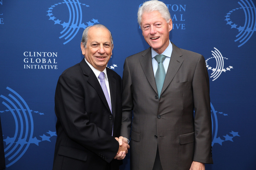 Former U.S. President Bill Clinton pictured with EARTH President José Zaglul at the Clinton Global Initiative Annual Meeting in New York City, September 23- 26, 2013. In addition to speaking about innovation in environmental education at the meeting, Zaglul also announced our 2013 CGI Commitment to Action to create a one-of-a-kind collaborative Global Master's program in Health and Sustainable Development together with the Faculty of Health Sciences at the American University of Beirut (AUB), in partnership with The MasterCard Foundation.