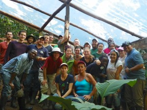 Community members, EARTH students, CDP staff and study abroad students form the University of Colorado worked together to build the Soda El Jaguar.