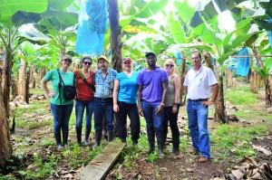 From left to right: Michelle Bennett, Angelina Miller, professor Luis Pocasangre, Anika Walz, Phillip Kaleewoun, Natasha Calvert and staff member Victor Rodriguez.