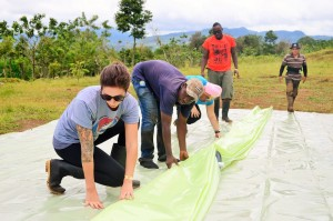 The participants helped install a biodigester in the Las Lomas community, along with student Emmanual Fornah ('14, Sierra Leone) and Luis Carazo from the Community Development Program.