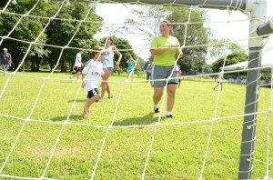 Melania Arroyo ('12, Costa Rica) enjoyed playing soccer with the children present at the activity.