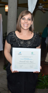 An honorable mention was also presented to Marianela Chaves ('14, Costa Rica).