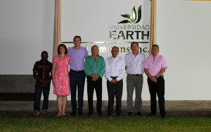 Mr. Linebarger, his wife, EARTH President José Zaglul and students in the recognition