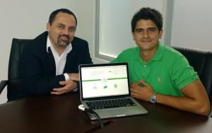 Juan Oliva Maya, ('10, Bolivia) right, at the presentation of Greencloud. Photo: Facebook Greenlook