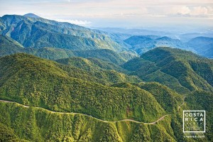 An aerial view of the Ruta 32 that runs through the Braulio Carillo National Park.  Photo by Giancarlo and Sergio Pucci/Costa Rica From Above.
