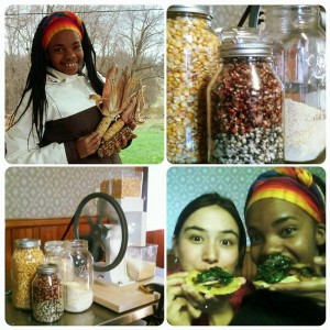 Issa and Gina enjoy a workshop about native corn species at Chatham.
