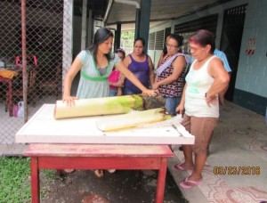 Sindy teaches local women about the material they will use. (Source: Sustainability Lab)