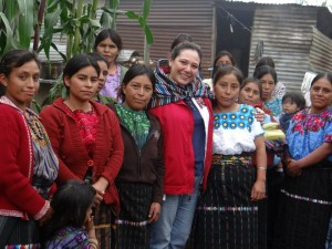 Mancía stands with indigenous women in Ixtahuacán. (Source: Ana Elsa Mancía)