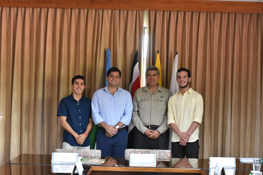 Since 2015, the Mayor's Office of Machala has sponsored one student to attend EARTH per year. Marcelo Logoroño ('19, Ecuador) (far left, in navy) and Marcel García ('20, Ecuador) (far right, in yellow) are two of the scholarship recipients. EARTH will receive two more sponsored students, one for each of the next two years.