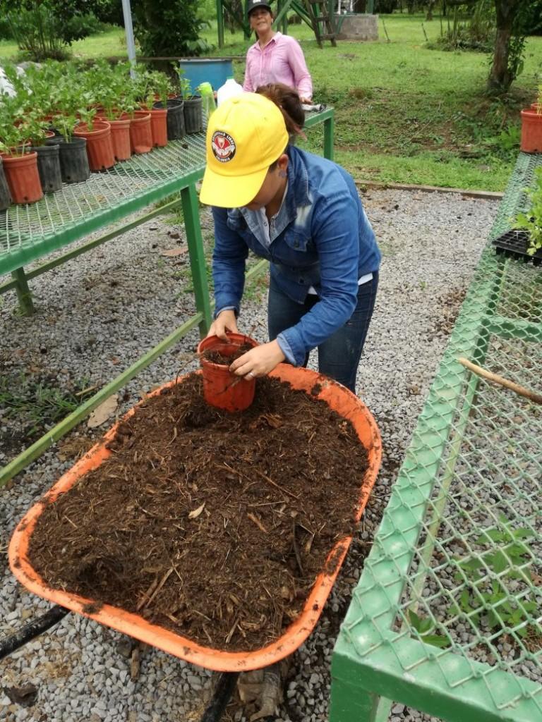 Ángela trabajó con compost, lombricompost, biodigestores y cultivos orgánicos durante su mes en la finca Orgánica.