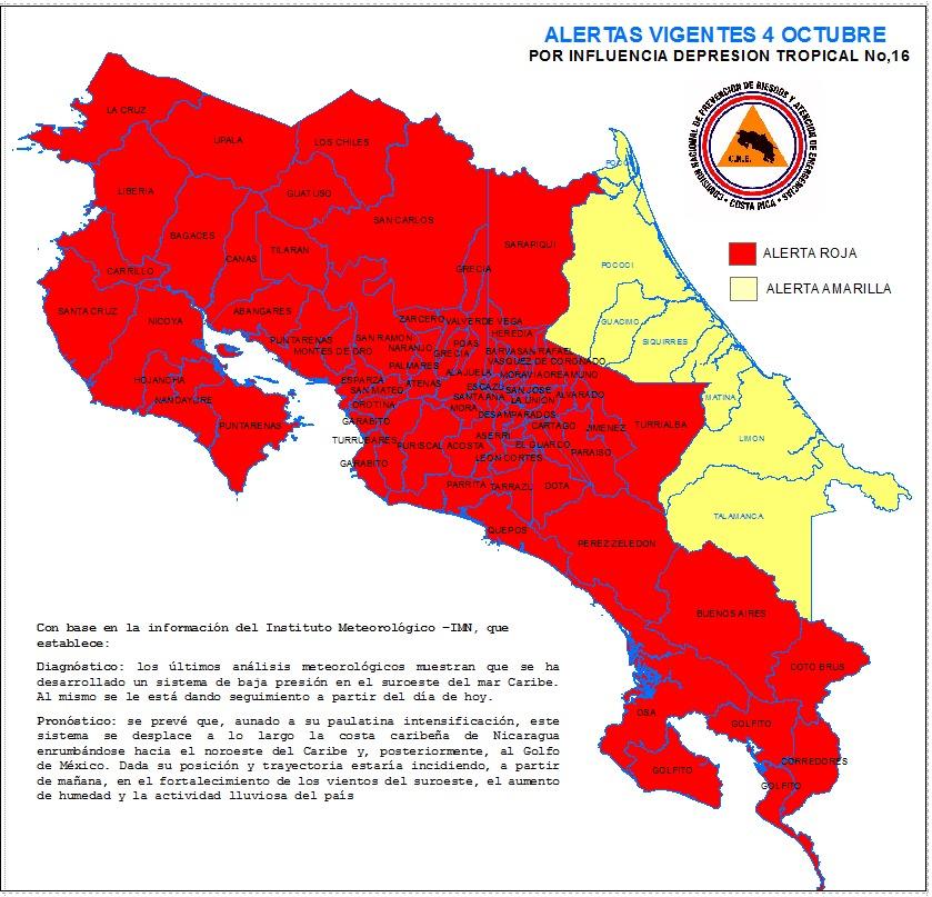 Declaración de alerta roja y amarilla por la Comisión Nacional de Emergencias.