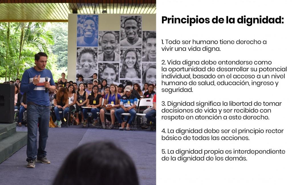 Manfred García (Promoción 2017, Costa Rica) durante su charla. Todos los testimonios estaban basados en los cinco principios de la dignidad.