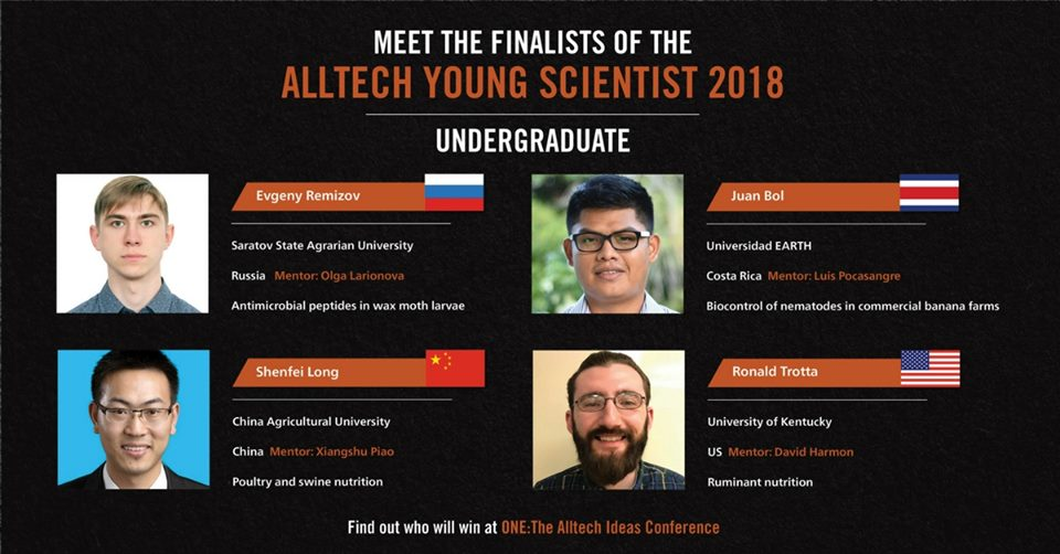 "From May 20 to 22, Juan will be in Lexington, Kentucky, USA, to face off against his three competitors in the undergraduate category. ""We received a great number of research projects, and Juan's really impressed the (regional) panel of judges,"" said Karl A. Dawson, Alltech vice president and head of research."