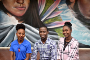 Rachelle's students of the Class 2023: Ghislaine Bourjolly, Ezéchiel Marceille and You's Kertye Myrtil.