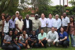 Rachelle (wearing the light green shirt) on her visit to EARTH, with Haitian students, the Agriculture Minister of Haiti and Faculty members.