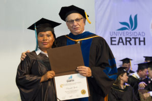 Next to the founding rector José Zaglul, at her graduation.
